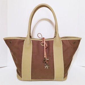J Crew Taupe/Gray Canvas Snap Side Tote Handbag